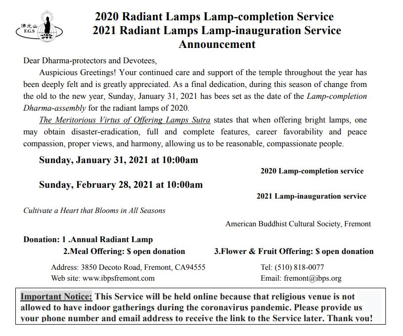 2020 Radiant Lamps Dharma Service